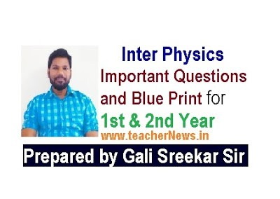 Inter Physics Important Questions, Blue print for 1st & 2nd Year Model Question Papers