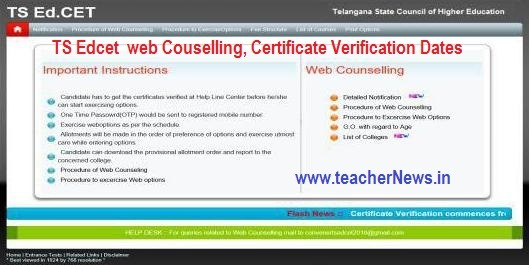 TS EdCET web Options Rank wise Dates 2020 - TS B.Ed Admission Counselling 2020 | Telangana EdCET 2018 Certificate verification Schedule