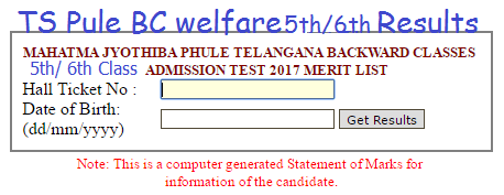 TS BC Welfare 6th/ 7th/ 8th Class Results 2020 District wise Selection list 2020 MJPTBCWREIS Telangana
