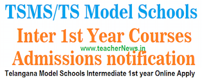 TS Model School Inter Online Apply Admission Notification 2021