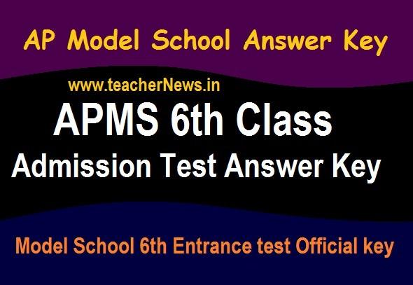 AP Model School Answer Key 6th Class | Download APMS 6th Entrance test key 2020