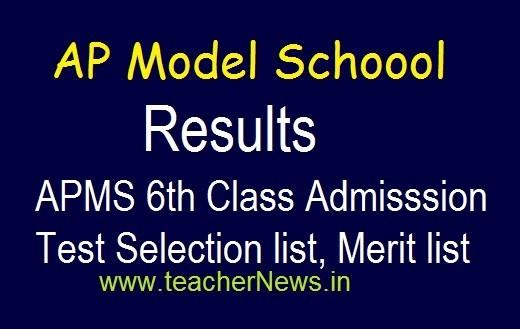 AP Model School Selection list 6th Class Admission 2020 | APMS 6th Entrance test Merit list, Results