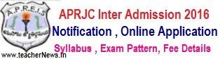APRJC Hall Tickets 2019   APRJC CET Inter Admission Test Hall tickets @ aprjdc.apcfss.in
