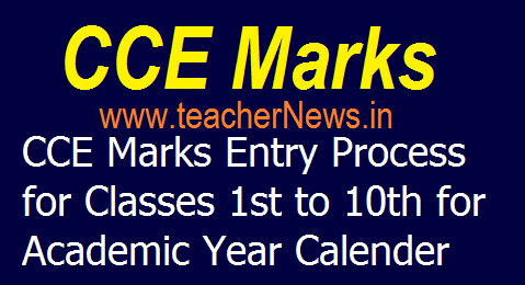 CCE Marks Online Entry Process for Primary/ UP/ High School Class for Academic Year 2019-20