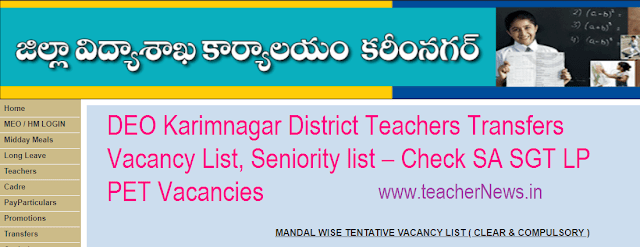 DEO Karimnagar District Teachers Promotions Transfers Vacancy List, Seniority list 2020 – Check SA SGT LP PET Vacancies