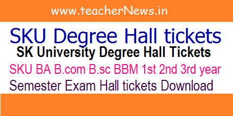 SK University Degree Hall Tickets 2020 SKU BA B.com B.sc 1st 2nd 3rd year Hall tickets