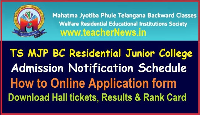 TS MJP BC Residential Junior College Admission 2020 Online Application form, Hall tickets