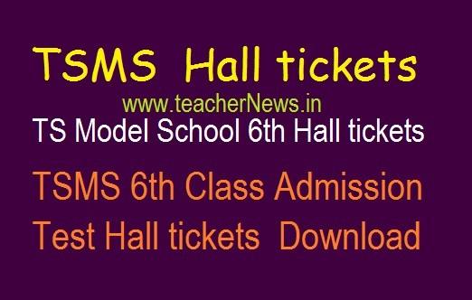 TS Model School 6th Hall tickets 2020 | TSMS 6th Class Admission Test Hall tickets