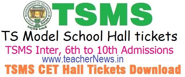 Telangana Model School Hall Tickets 2020 | TSMS 6th/ 7th/ 8th/ 9th/ 10th Class Admission Test Hall ticket 2020