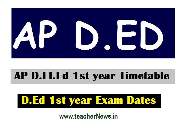 AP D.Ed First year Exams dates 2020 | AP D.EI.Ed 1st year Timetable 2018-2020 Batch