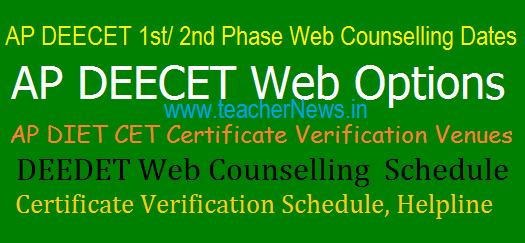 AP DEECET 2020 1st/2nd Phase Web Counselling Dates/ Schedule, Certificate Verification Venues