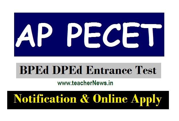 AP PECET (B.P.Ed/ D.P.Ed) Notification 2020 released | AP PECET Online Apply last date