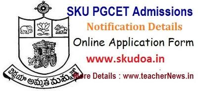 SKU PGCET 2021 Notification   SK University PG Admission MA MSc Online Apply last date