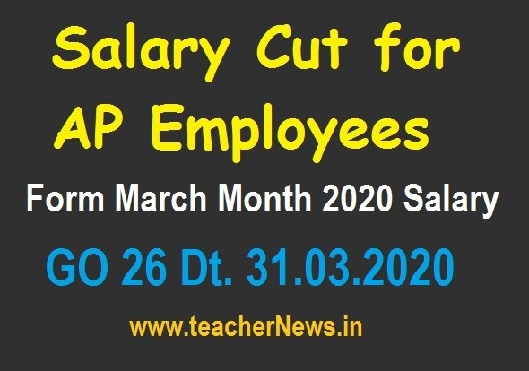 Salary Cut for AP Employees from March Month 2020 to COVID-19 GO 26
