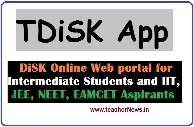 TDiSK App for EAMCET IIT JEE NEET eLearning Students by Inter Board Telangana