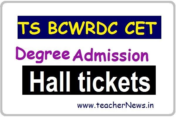 TS BCWRDC CET Degree Admission Hall Tickets 2020 MJP TS BC Welfare RDC Entrance Test 2020