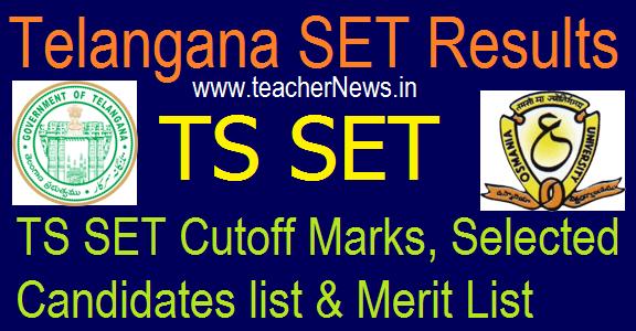 TS SET Results 2020   Telangana SET Cutoff Marks, Selected Candidates/ Merit List