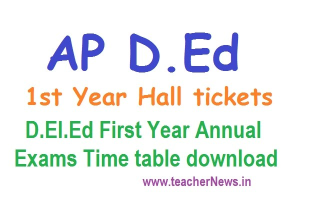 AP D.Ed 1st year Hall Tickets Exam Dates / Time table 2021 Exam Fee batch 2019-21