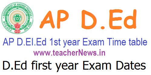 AP D.Ed 1st year Exam Dates/ Time table, Hall tickets 2018-20 batch @ bse.ap.gov.in