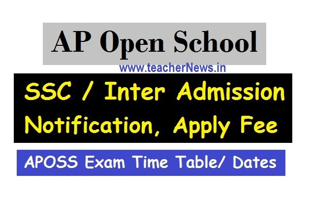 AP Open School Admission SSC / Inter Notification 2020 | APOSS Exam Time Table/ Dates 2020