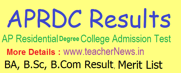 APRDC Results 2020 | APRDC CET Degree Results, Merit List, Cutoff Marks @ aprs.cgg.gov.in
