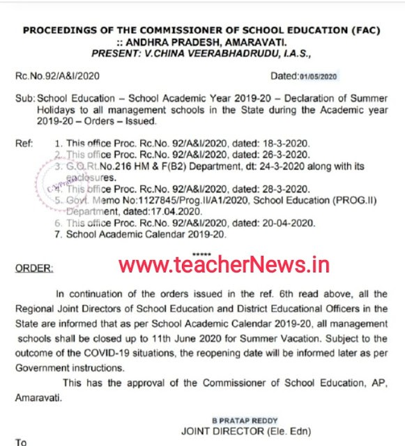 AP Schools Summer holidays declared by School Education upto 11th, June 2020