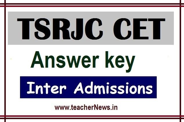TSRJC Answer Key 2020  TSRJC CET MPC BiPC Preliminary Final Key Code B, D, C, A cutoff Marks