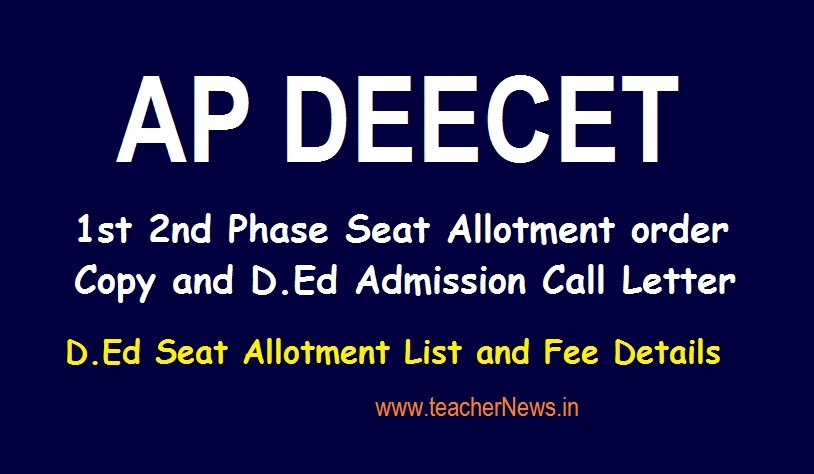 AP DEECET Seat Allotment 1st 2nd Phase order Copy 2020 AP TTC D.Ed Admission Call Letter at deecetap.cgg.gov.in