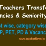 AP Teachers Transfers Vacancies 2020 Final Seniority List download District wise, category wise SGT, SA, LP,PET,PD and Vacancy Lists District wise