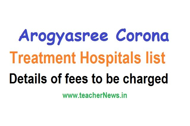 Arogyasree Corona Treatment Hospitals list - Details of fees to be charged