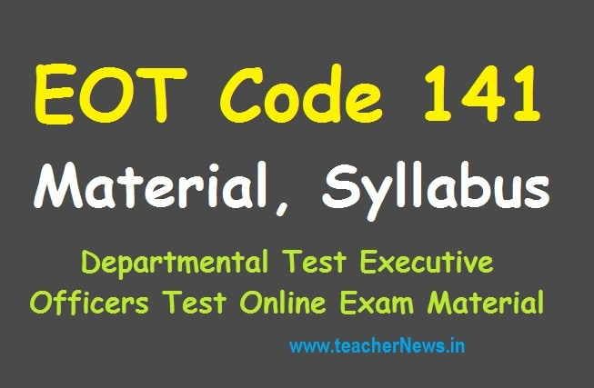 EOT 141 Pension Rules - APPSC Departmental Tests EOT Exam Syllabus, Study Material Bits with Books