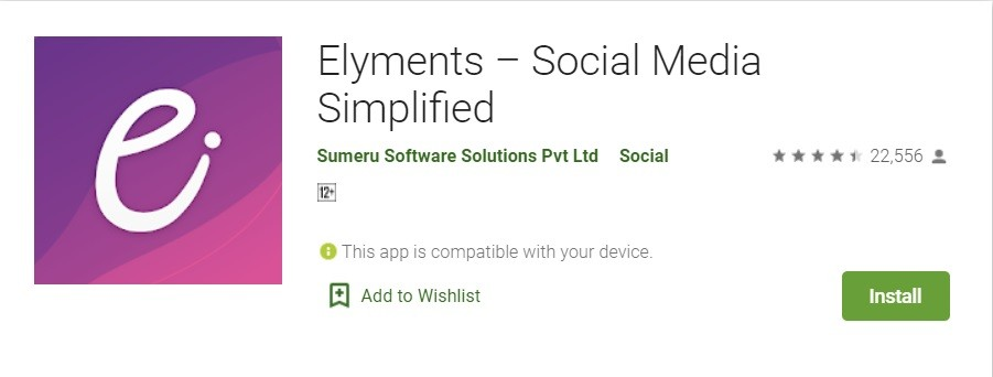Elyments Android App - Indian Social Media Simplified App Download