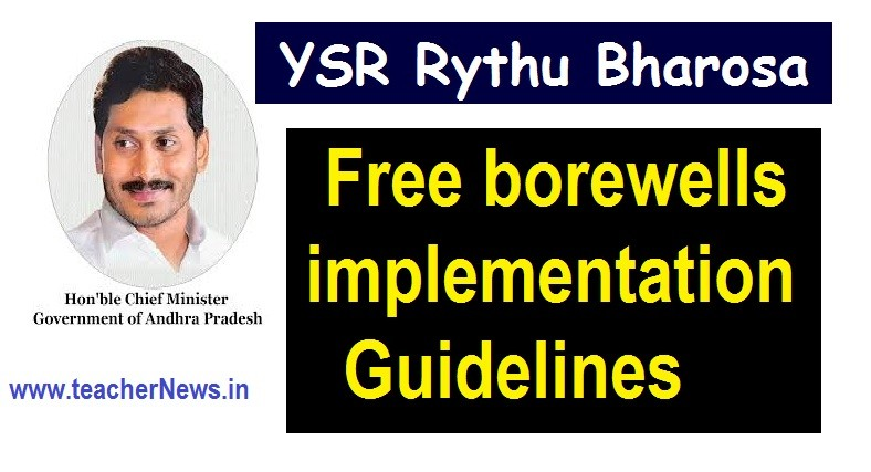 Online Apply Free borewells to AP Farmers - YSR Rythu Bharosa Free borewells implementation Guidelines