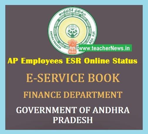 AP eSR Online Status Report - Department Wise esr Completed list for AP Employees Teachers