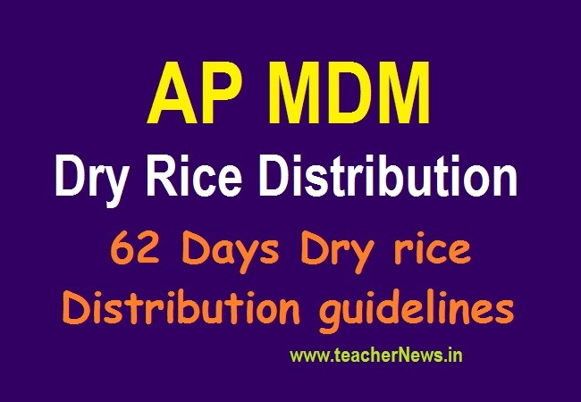 MDM Dry Rice Distribution in AP Students for 62 Days (from 12th June to 31st Aug 2020 )