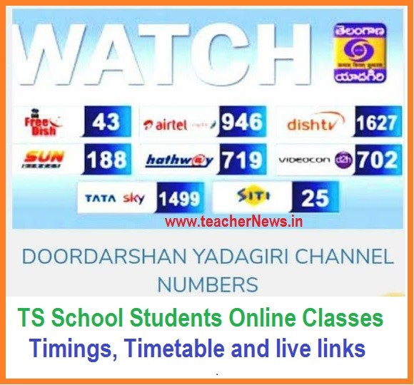 TS Online Digital Classes Timings & Timetable to Telangana School Students on TV & T-SAT