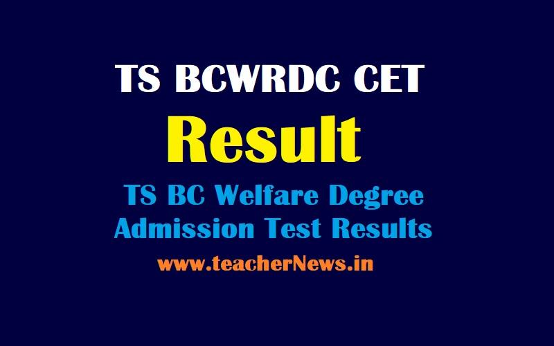 TS BCWRDC CET Result 2021 TS BC Welfare Degree Results 2021 Selection list MJPTBCWREIS Telangana