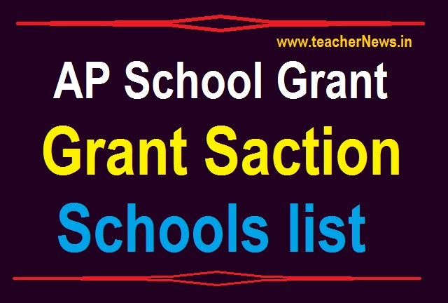 AP School Grants Release 2020-21 Grant Saction Schools list Download