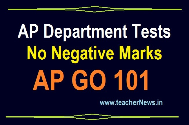 Department Test No Negative Marks GO 101 - Removed APPSC Departmental Test Negative Marks