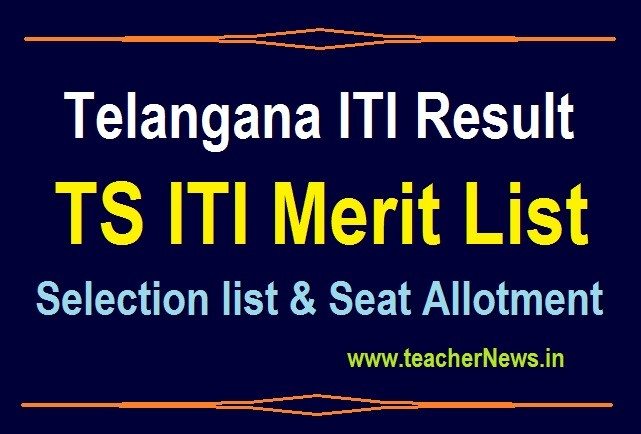 Telangana ITI Result 2020 TS ITI Merit List Selection list Seat Allotment at iti.telangana.gov.in