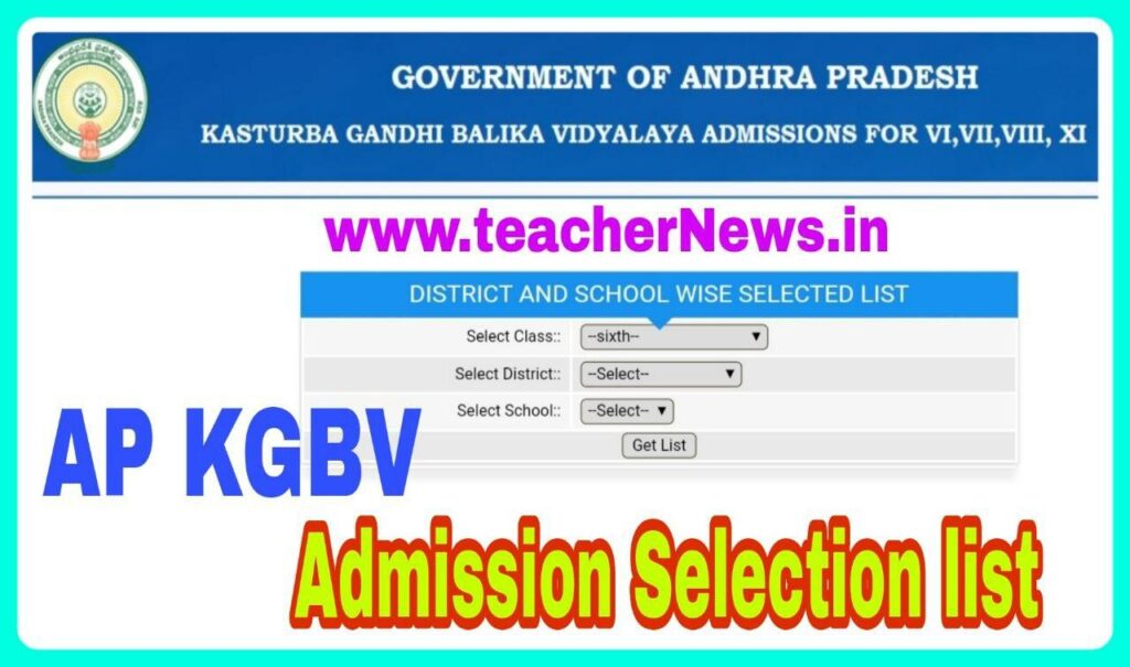 AP KGBV Selection list for 6th, 7th, 8th Class, Inter Admissions Results 2020 at apkgbv.apcfss.in