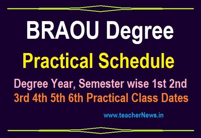 BRAOU Degree Practical Schedule 2020 Ambedkar Open University UG Semester Practical Dates
