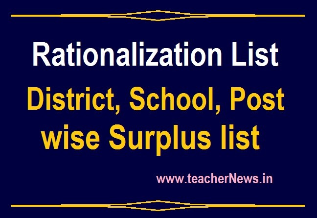 District wise Rationalization List 2020 DEO District SGT School wise Post wise Surplus List