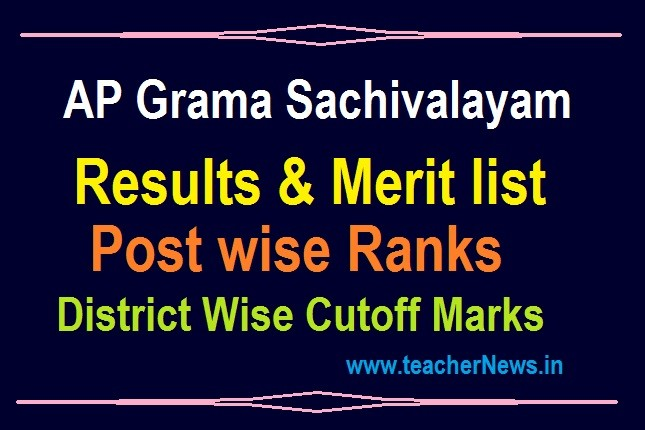 Grama Sachivalayam Results 2020 in AP Official link – Post wise Ranks, Merit List District Wise & Cutoff Marks