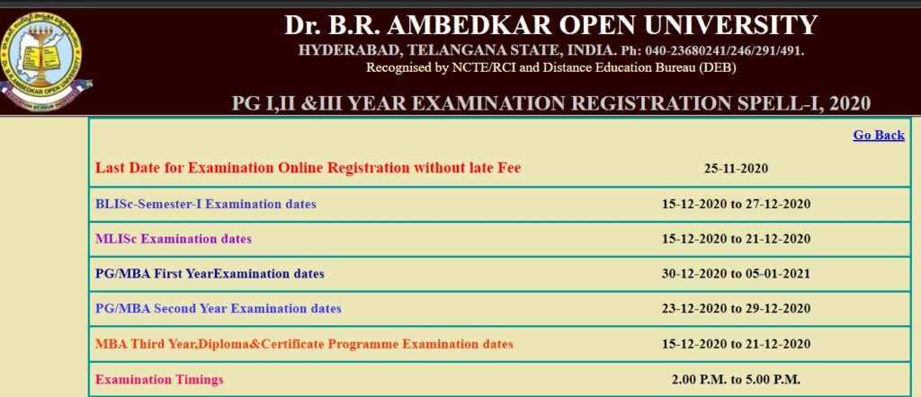 BRAOU PG Exams Time Table, Exam schedule & Registrations Process