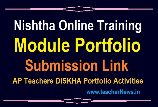 Nishtha Module Model Portfolio Upload Link - Module Diksha Online Training Portfolios Submission link