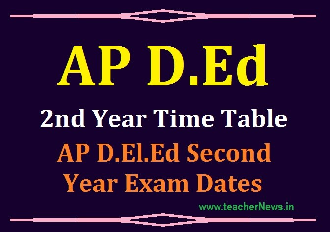 AP D.Ed 2nd Year Time Table 2020 – AP D.El.Ed 2nd Year Exam Dates for 2018-2020 Batch