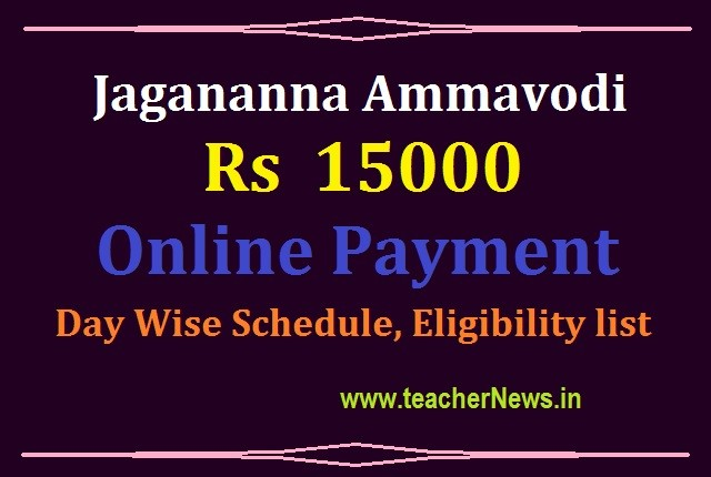 Ammavodi 15000 Payment on Jan 9th, 2021 - Day Wise Schedule, Eligibility list