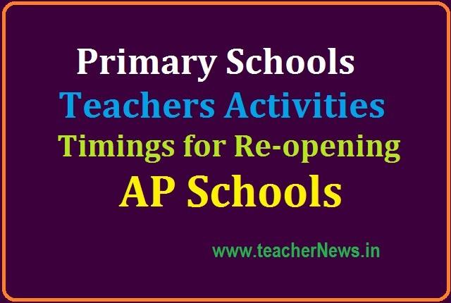 Primary Schools Teachers Activities, Timings for Re-opening of Schools