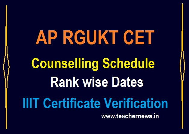 RGUKT Counselling Schedule 2020 (Rank Wise Dates) - AP IIIT Rank Wise counselling - Required Certificate list